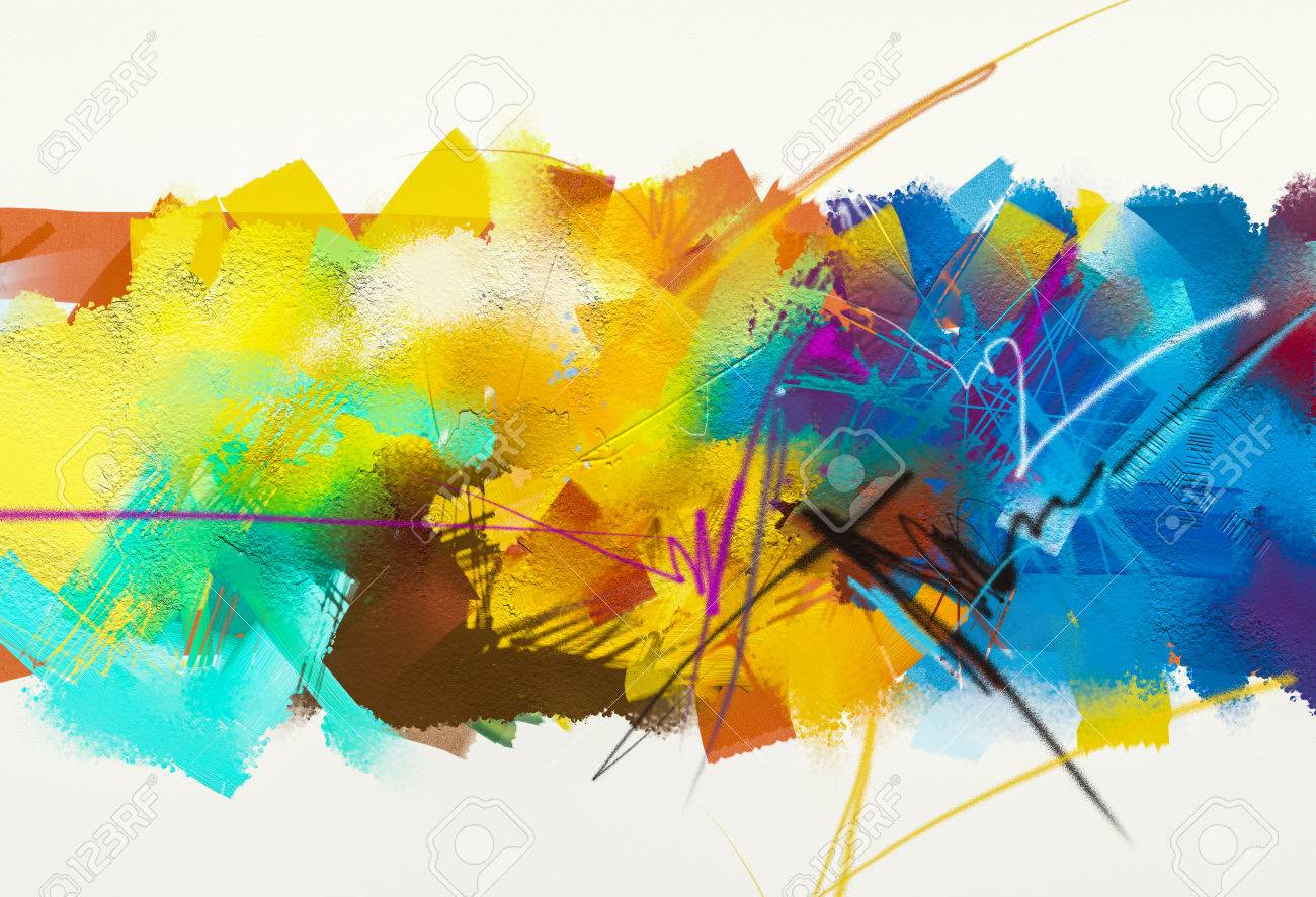 Abstract Colorful Oil Painting On Canvas Texture Hand Drawn Stock