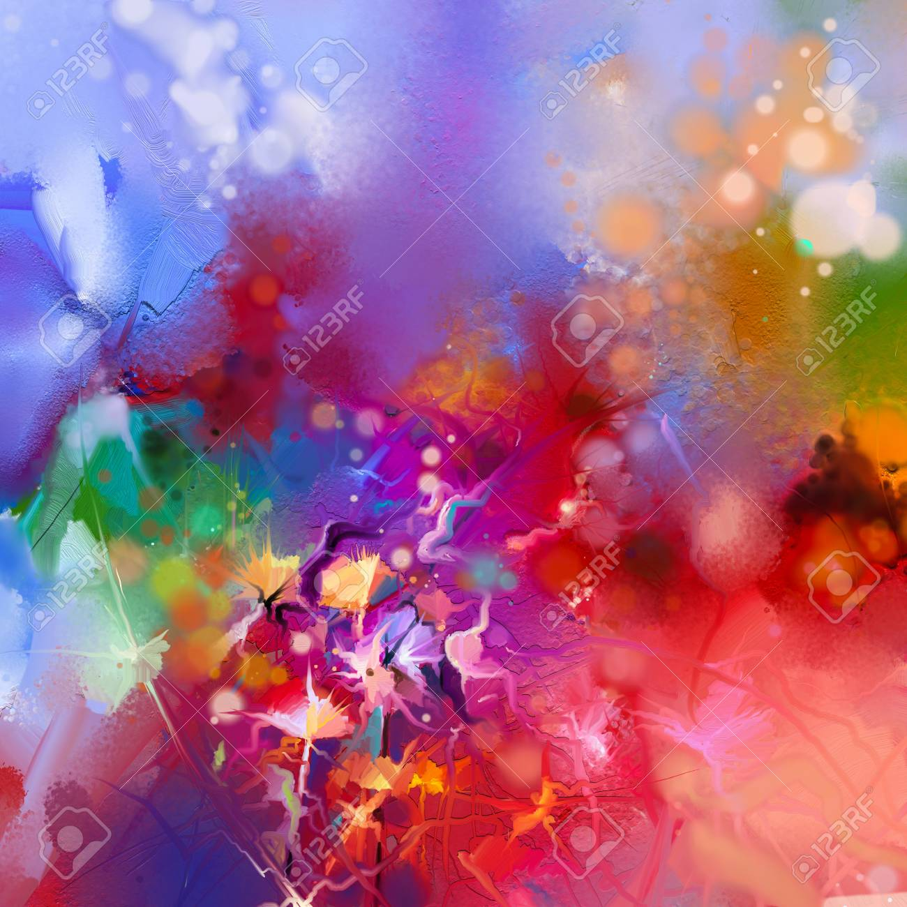 Abstract Colorful Oil Painting On Canvas. Semi- Abstract Image ...
