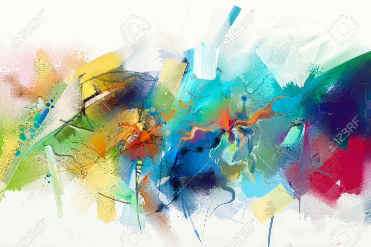 Abstract colorful oil painting on canvas texture. Hand drawn brush stroke, oil color paintings background. Modern art oil paintings with green, red and blue. Abstract contemporary art for background. - 87696687