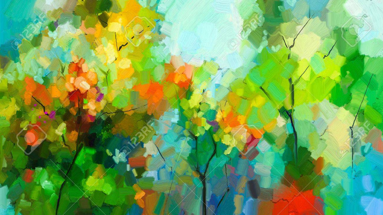 Abstract colorful oil painting landscape on canvas. Semi- abstract of tree in forest. Green and red leaves with blue sky. Spring ,summer season nature background. Hand painted Impressionist style - 88040002