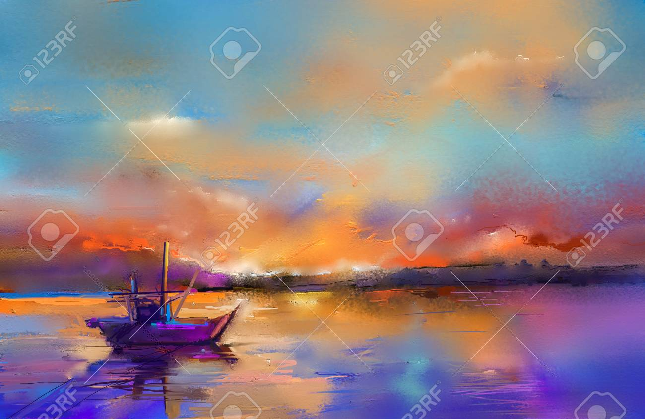 Colorful oil painting on canvas texture. Impressionism image of seascape paintings with sunlight background. Modern art oil paintings with boat, sail on sea. Abstract contemporary art for background. - 99243858
