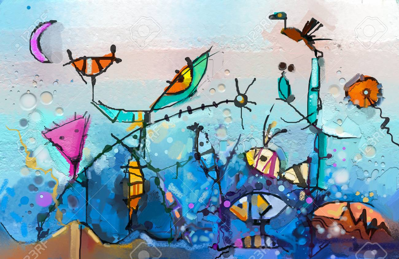 Abstract colorful fantasy oil painting. Semi- abstract of chidren, tree, fish and bird. Spring ,summer season nature background. Hand painted, children painting surreal style for background - 106235246