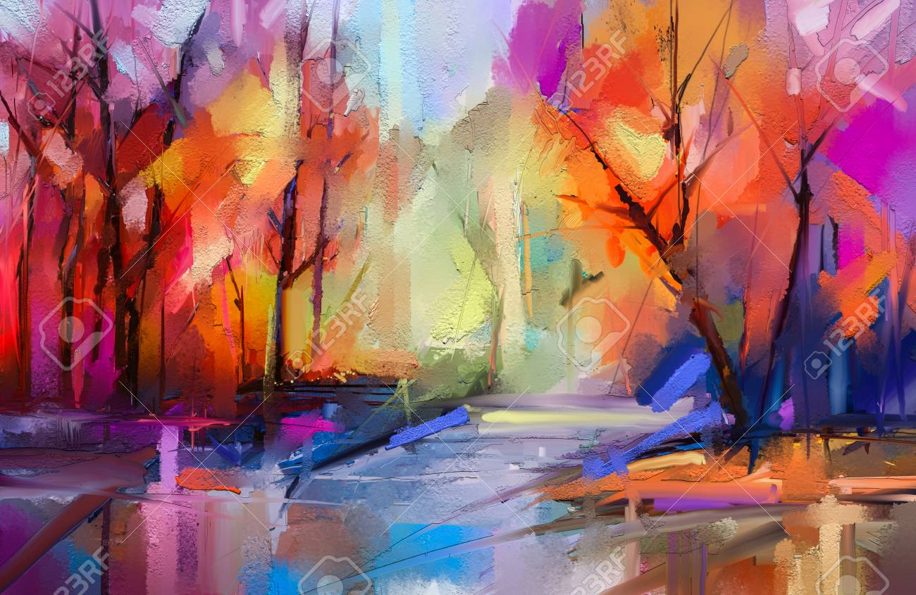 Oil painting colorful autumn trees. Semi abstract image of forest, landscapes with yellow - red leaf and lake. - 121759556