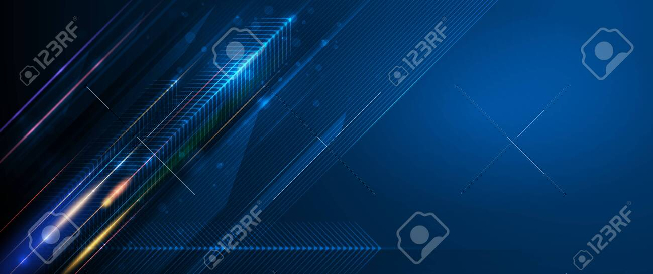 Vector Abstract, science, futuristic, energy technology concept. Digital image of light rays, stripes lines with blue light, speed and motion blur over dark blue background - 139593770
