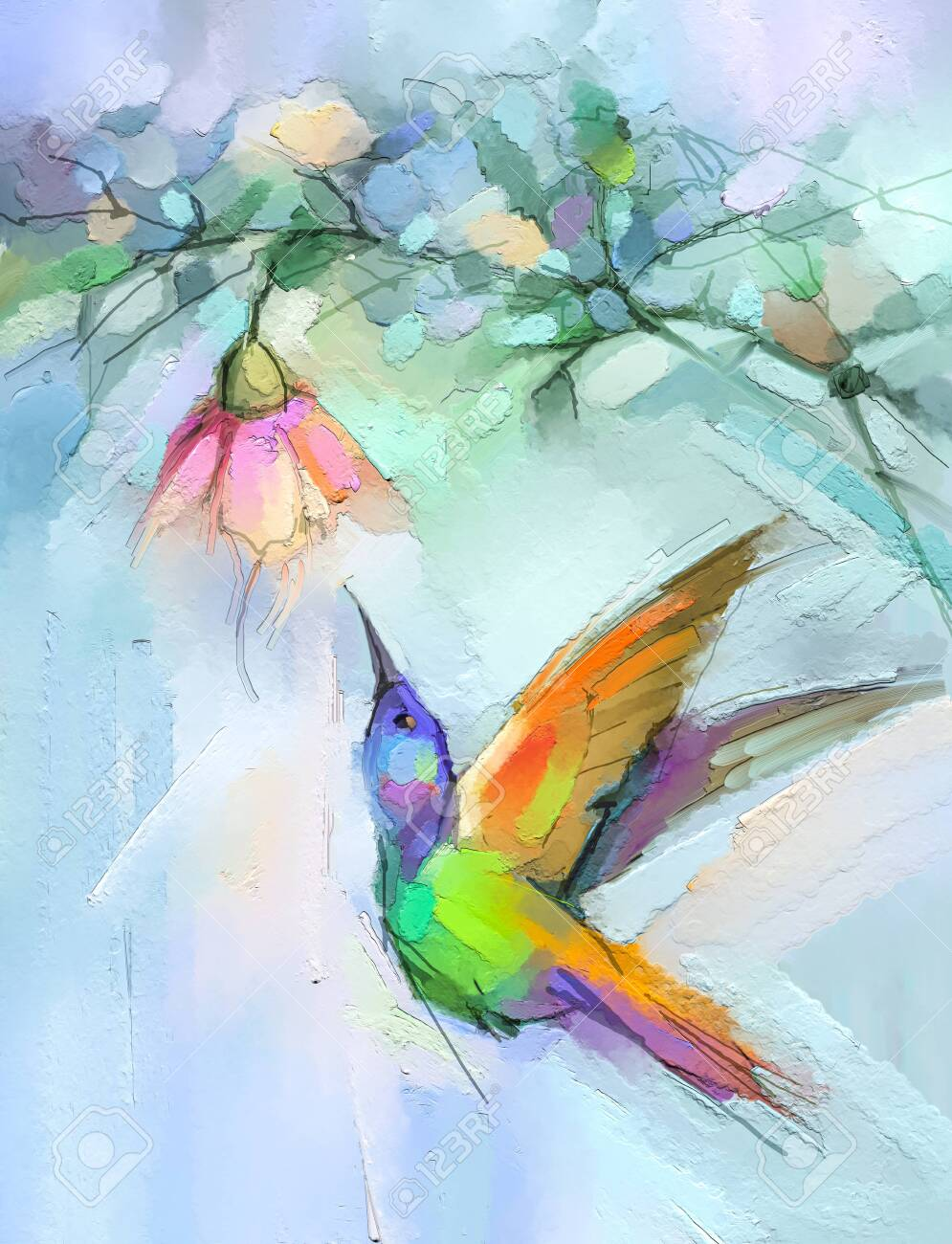 Abstract Colorful Oil, Acrylic Painting Of Bird (Hummingbird).. Stock  Photo, Picture And Royalty Free Image. Image 144991629.