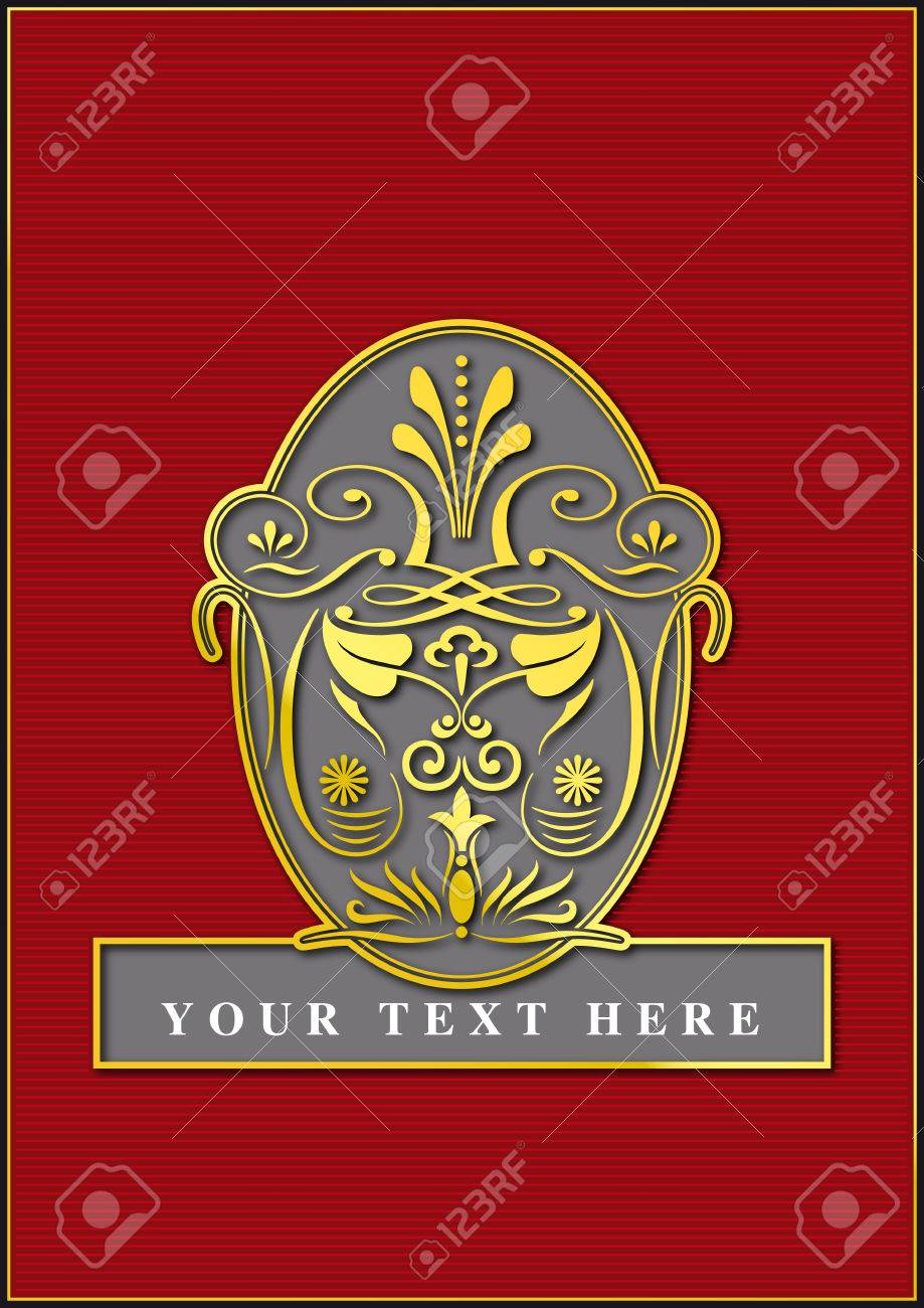 exclusive golden emblem with red backgorund Stock Vector - 6984251