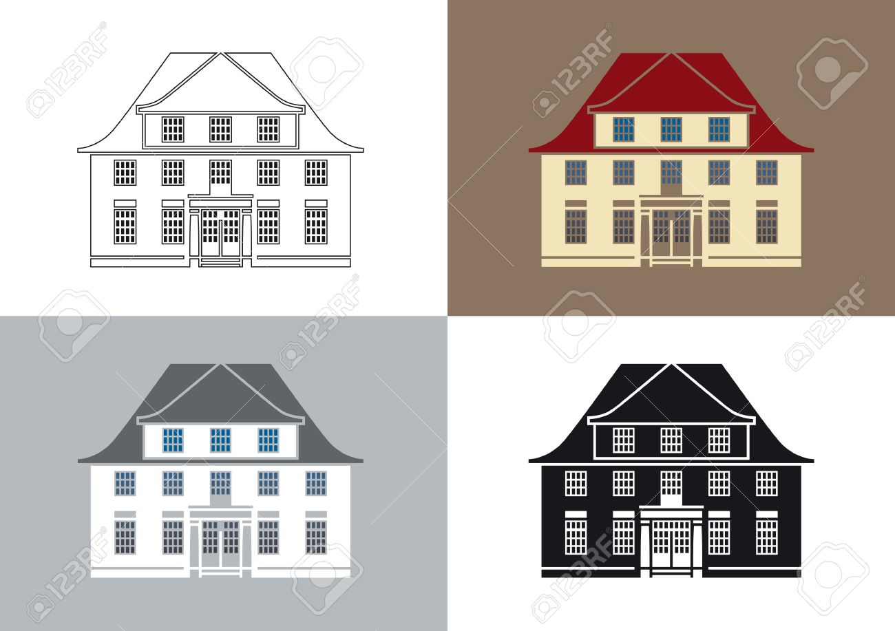 Stylized illustration of an old villa Stock Vector - 7025904