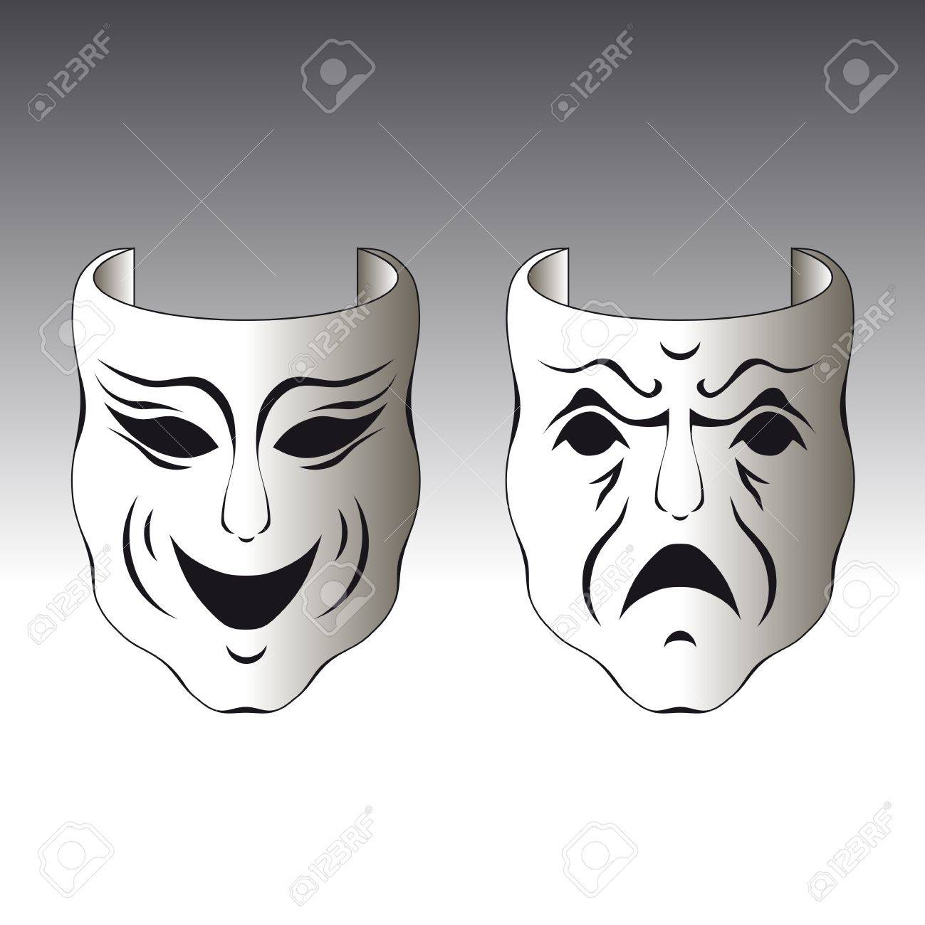 Illustration of a typical male and female carnival mask Stock Vector - 7025891