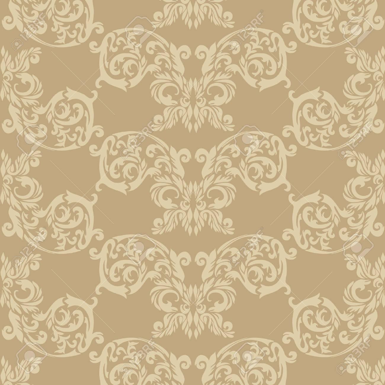 ベージュの歴史的なバロック様式の飾りの壁紙や織物テクスチャ の