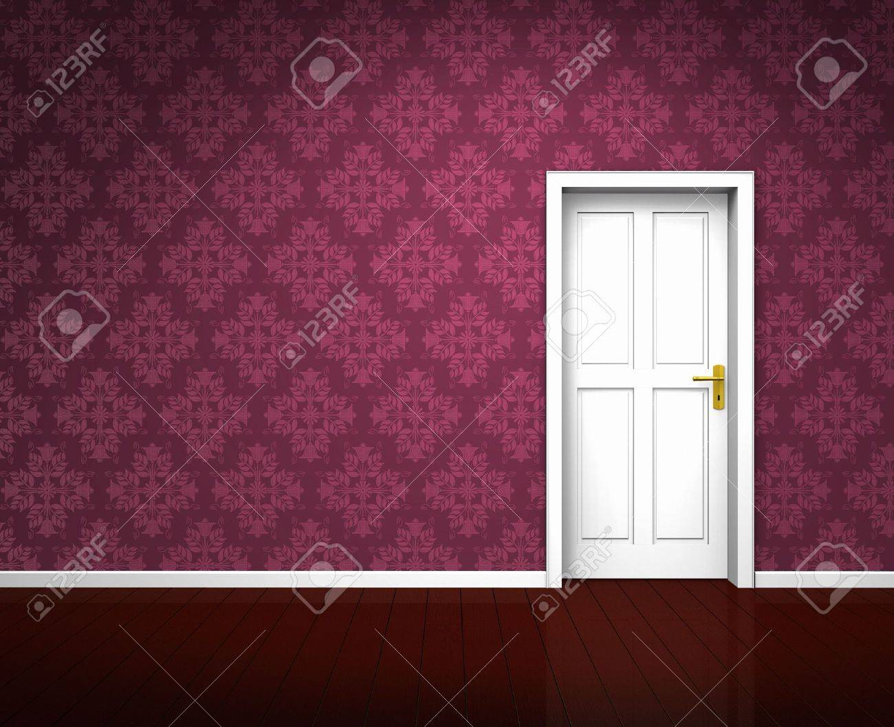 Rendering of an old room with a white wooden door and vintage violet wallpaper Stock Photo - 7919976