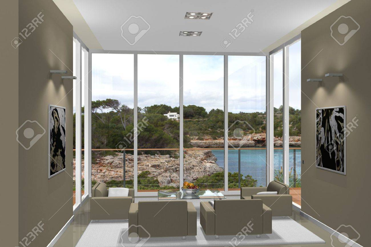 Virtual Living Room With A Fantastic View Stock Photo, Picture And ...
