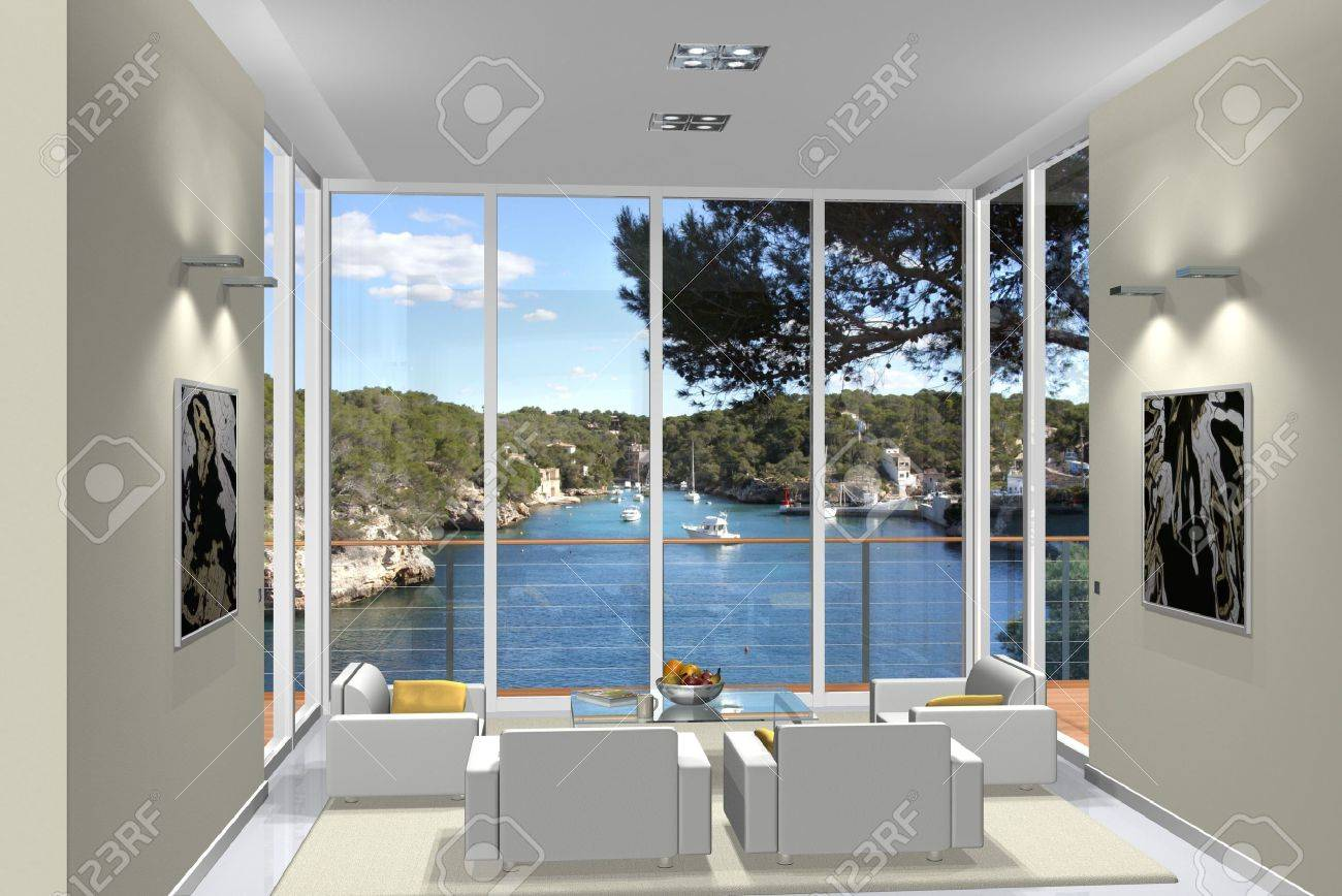 Virtual Living Room virtual living room with a view to a small harbour stock photo