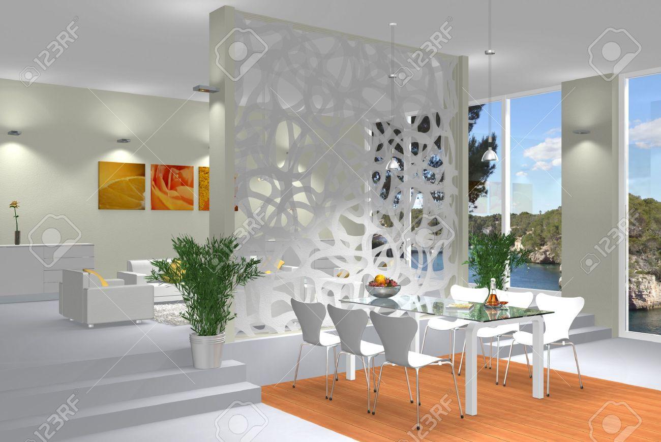 Virtual modern interior scene Stock Photo - 8127720