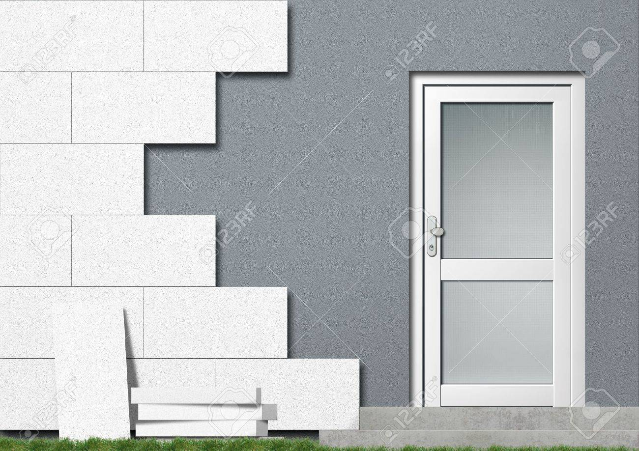 Illustration of a private home covered with isolation material Stock Illustration - 8127725