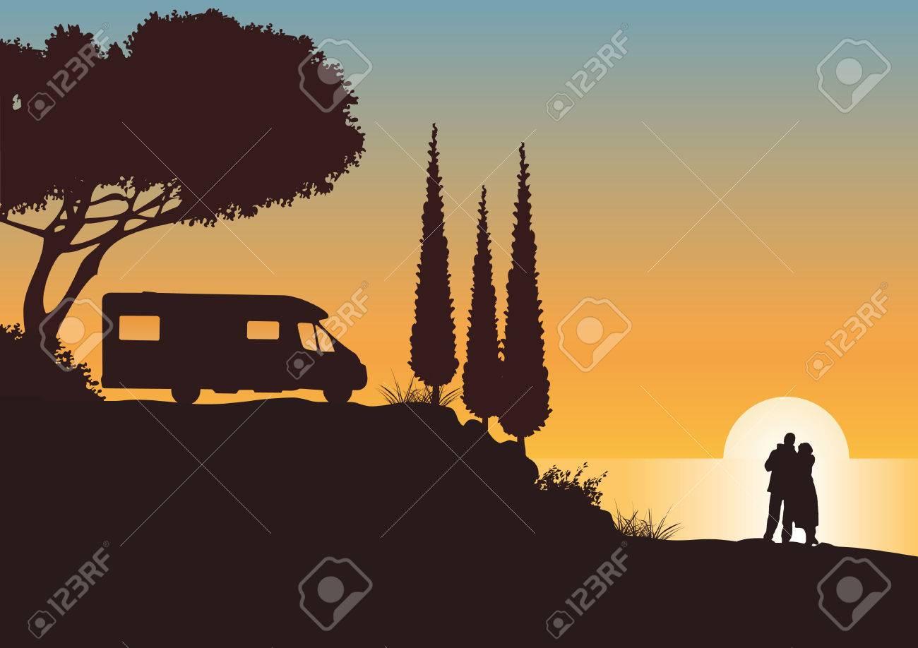 Holidays with caravan Stock Vector - 8446121