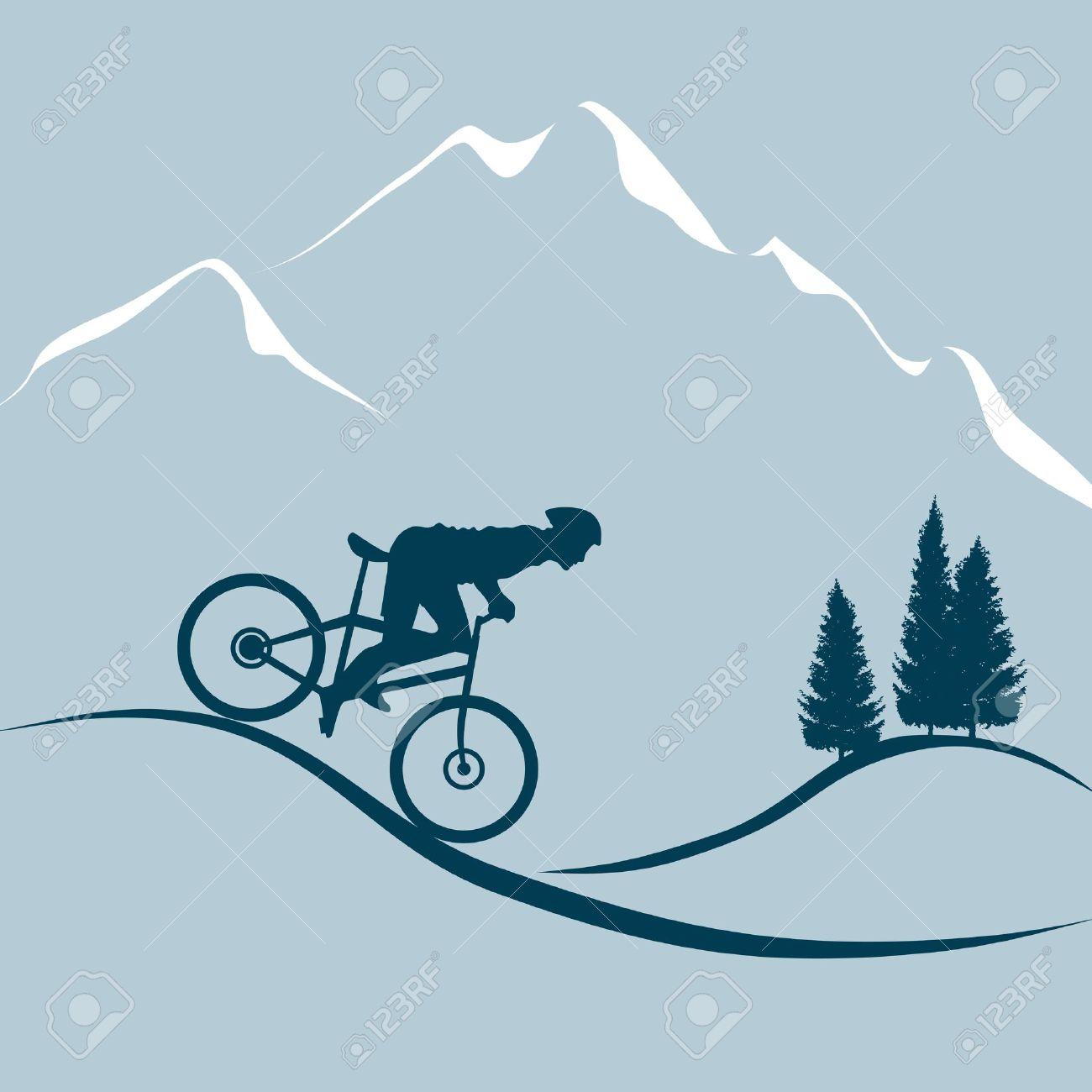 Man With Mountain Bike Stock Vector