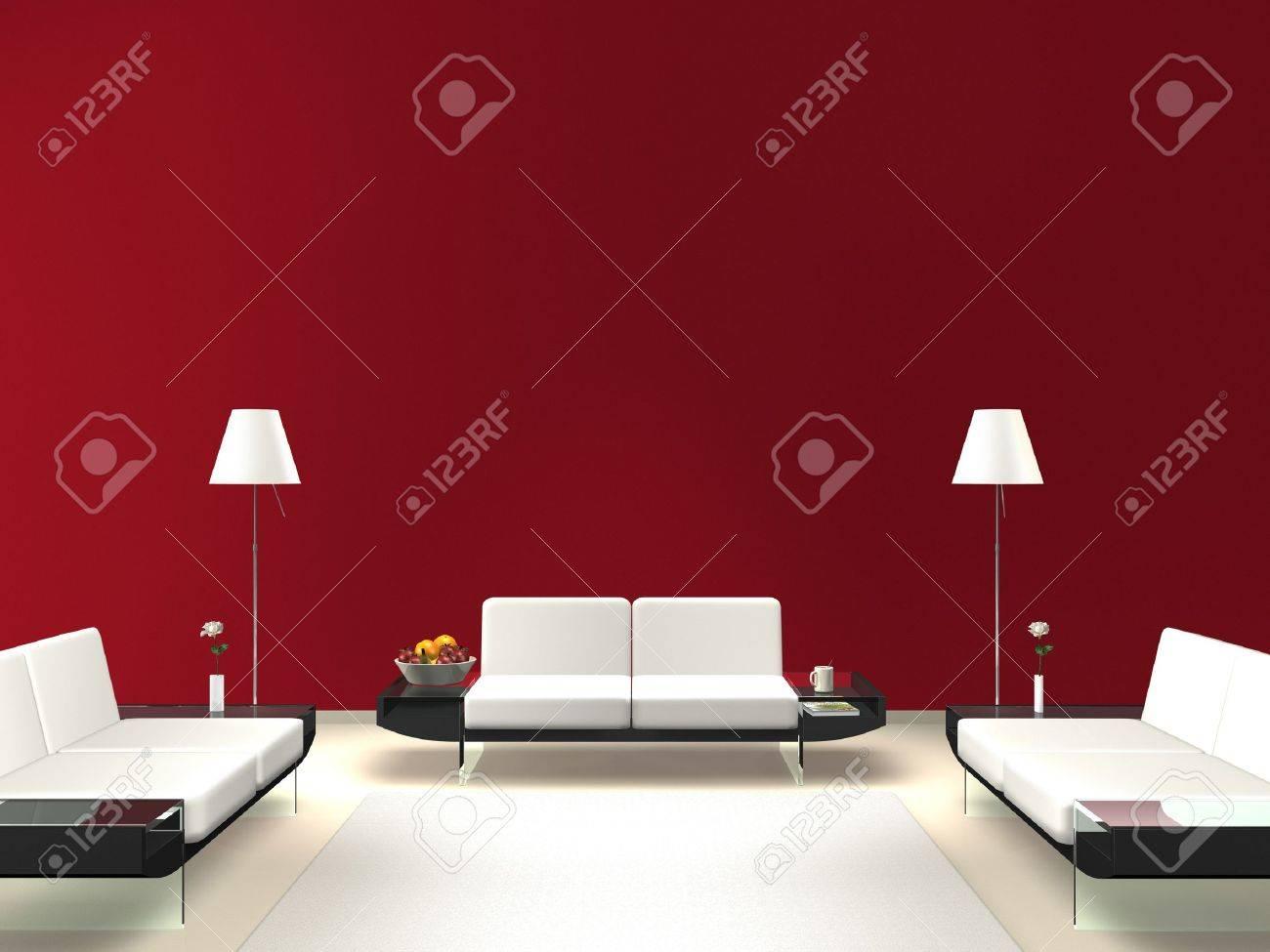 Moderne lounge met rode muur royalty vrije foto, plaatjes, beelden ...