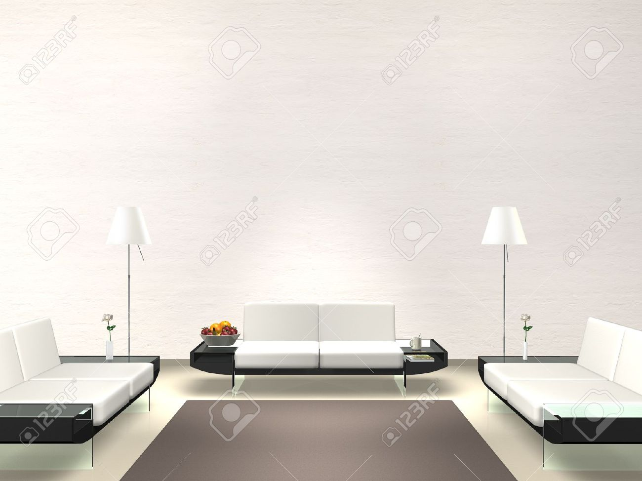 . modern lounge with white wall