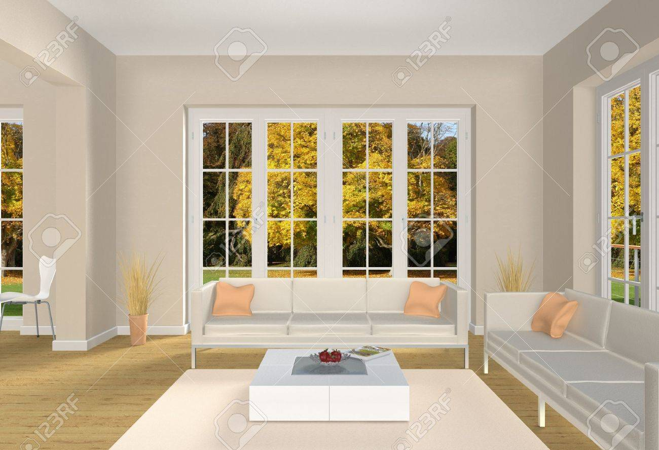 Charming 3d Living Room With A View Into A Park In Fall Stock Photo   13979450 Part 18