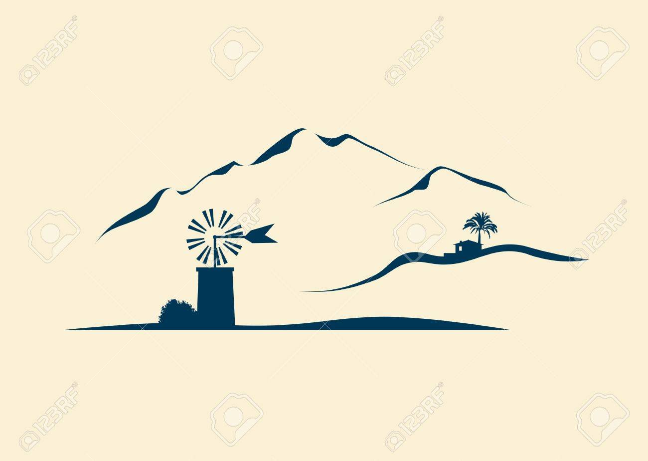 stylized landscape of Majorca Stock Vector - 14109989