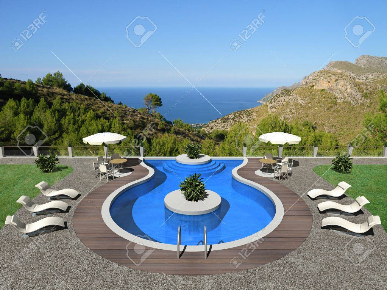 fictitious swimming pool in 3d Stock Photo - 15146827