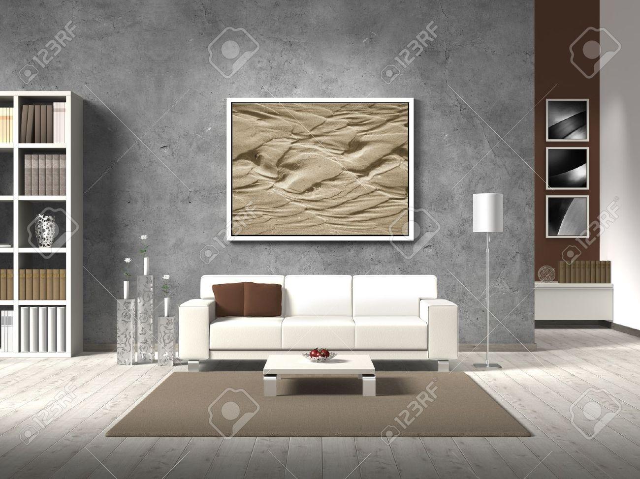 Moderne fictieve woonkamer met witte bank en kopie ruimte voor uw ...