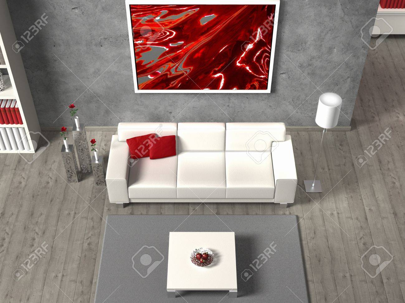 Fictitious Modern Living Room In Aerial View The Image In The