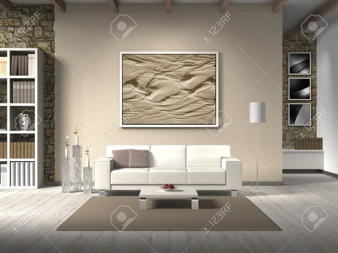 FICTIEF Landelijke Stijl Woonkamer Met Witte Sofa, De Foto Achter ...