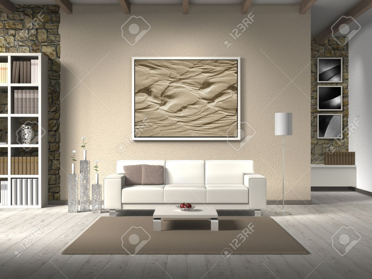 fictitious country style living room with white sofa the photo behind the settee can easily