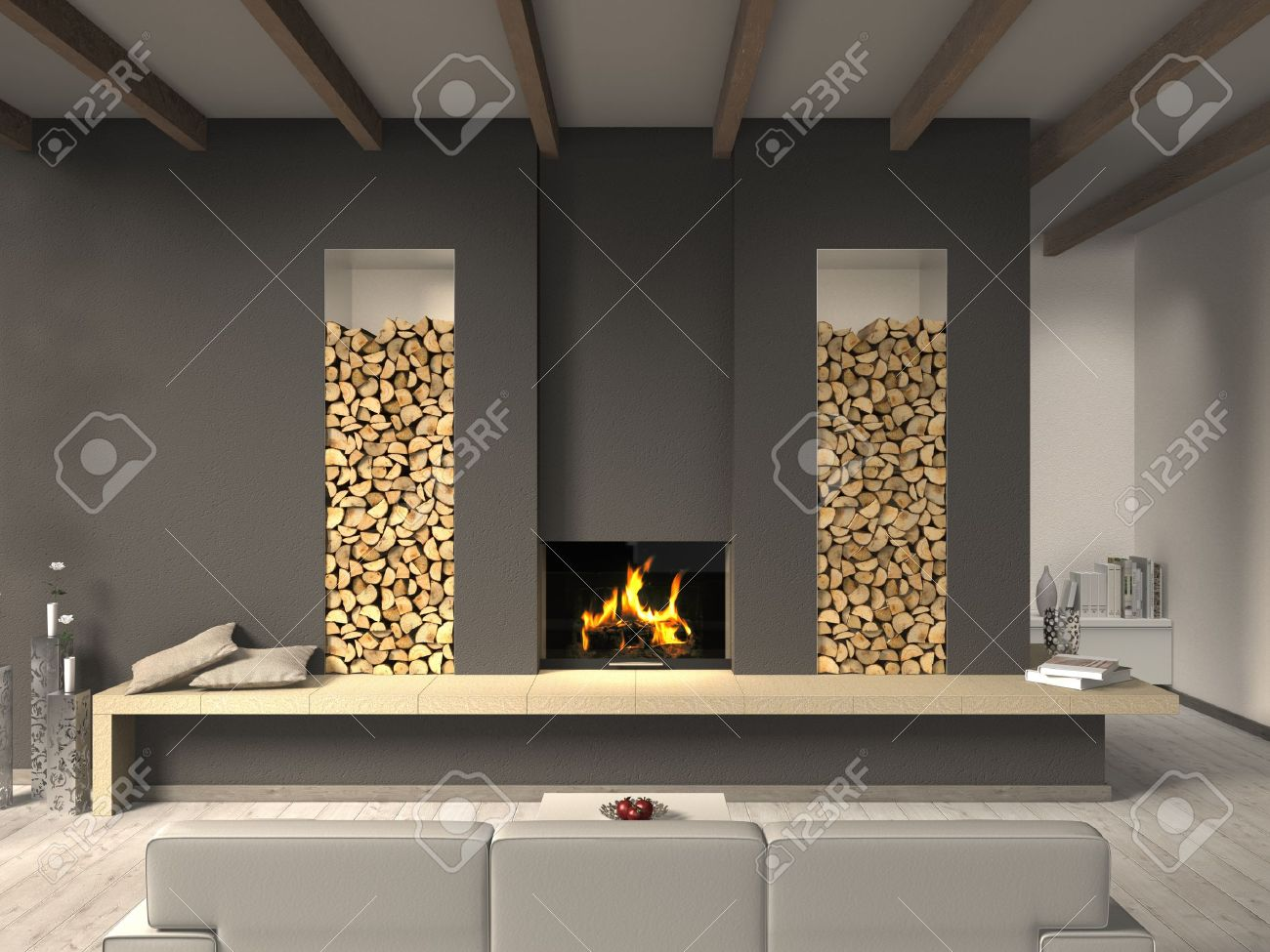 Living Room Country Style Fictitious Country Style Living Room With Fireplace Stock Photo