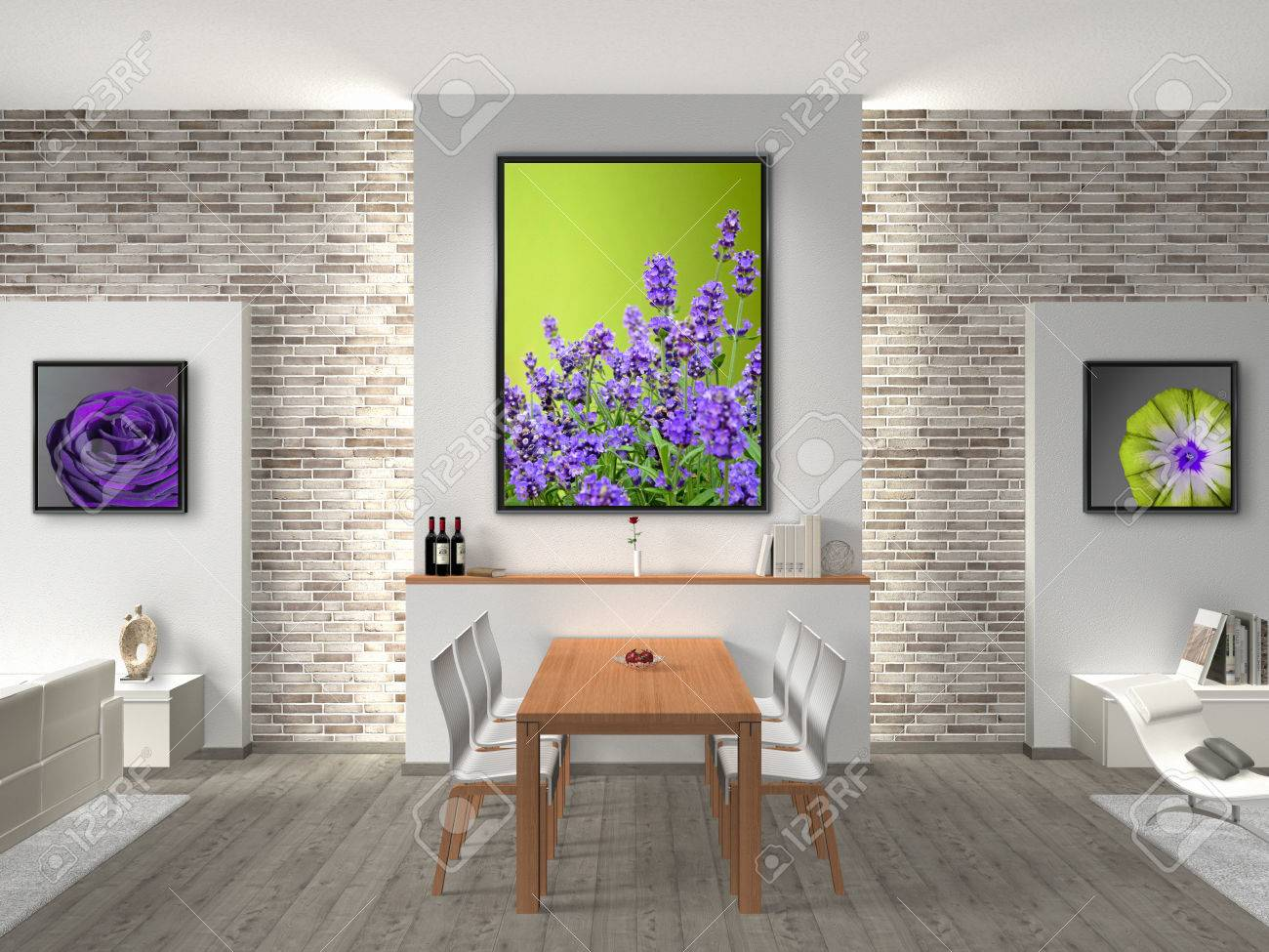 FICTITIOUS Interior Of A Modern Dining Room The Photos In Frames Can Easily Be Exchanged By You Labels On Bottles And Book Covers Are