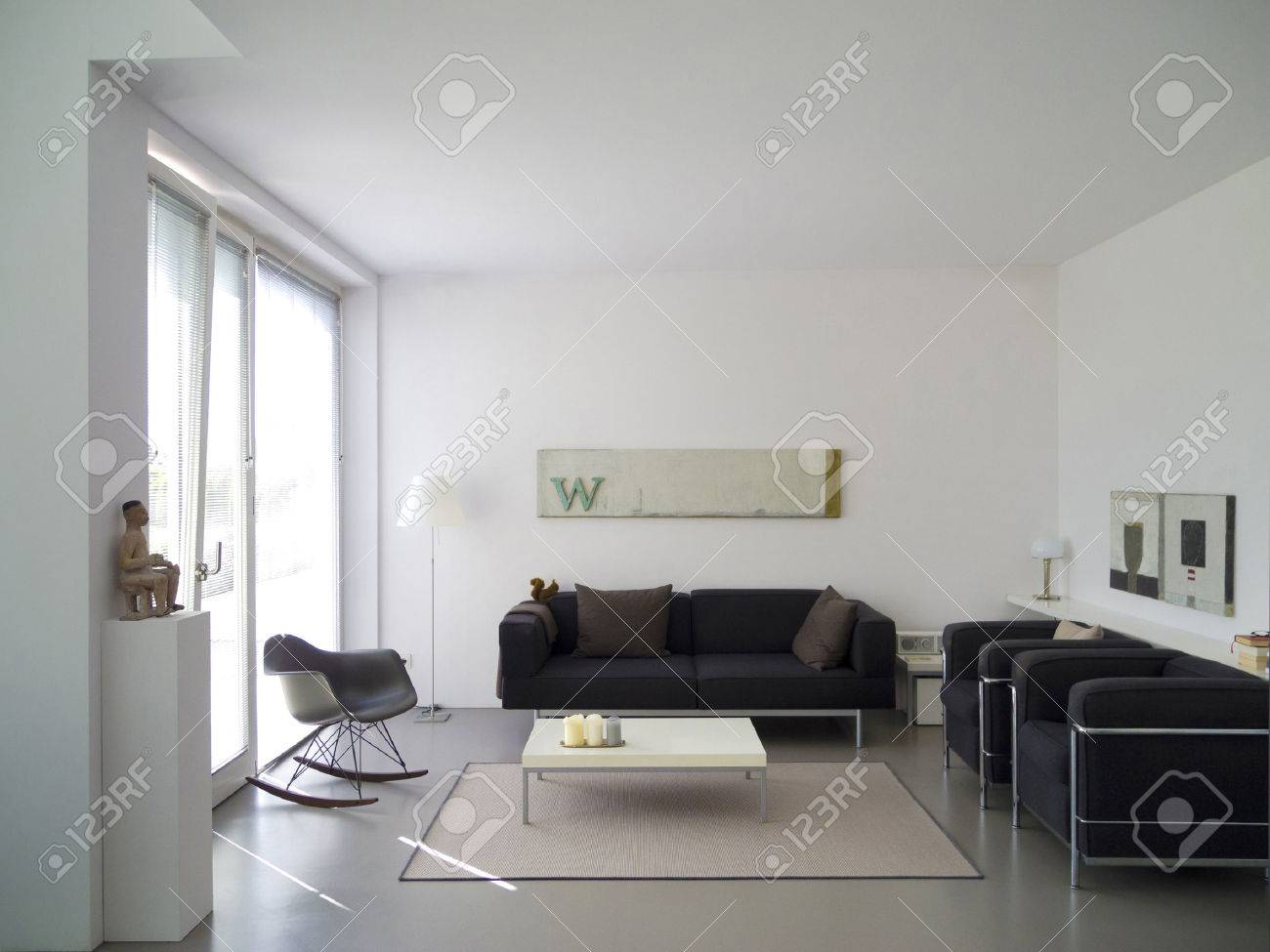 Modern Private Living Room With Copy Space For Your Own Images Stock ...