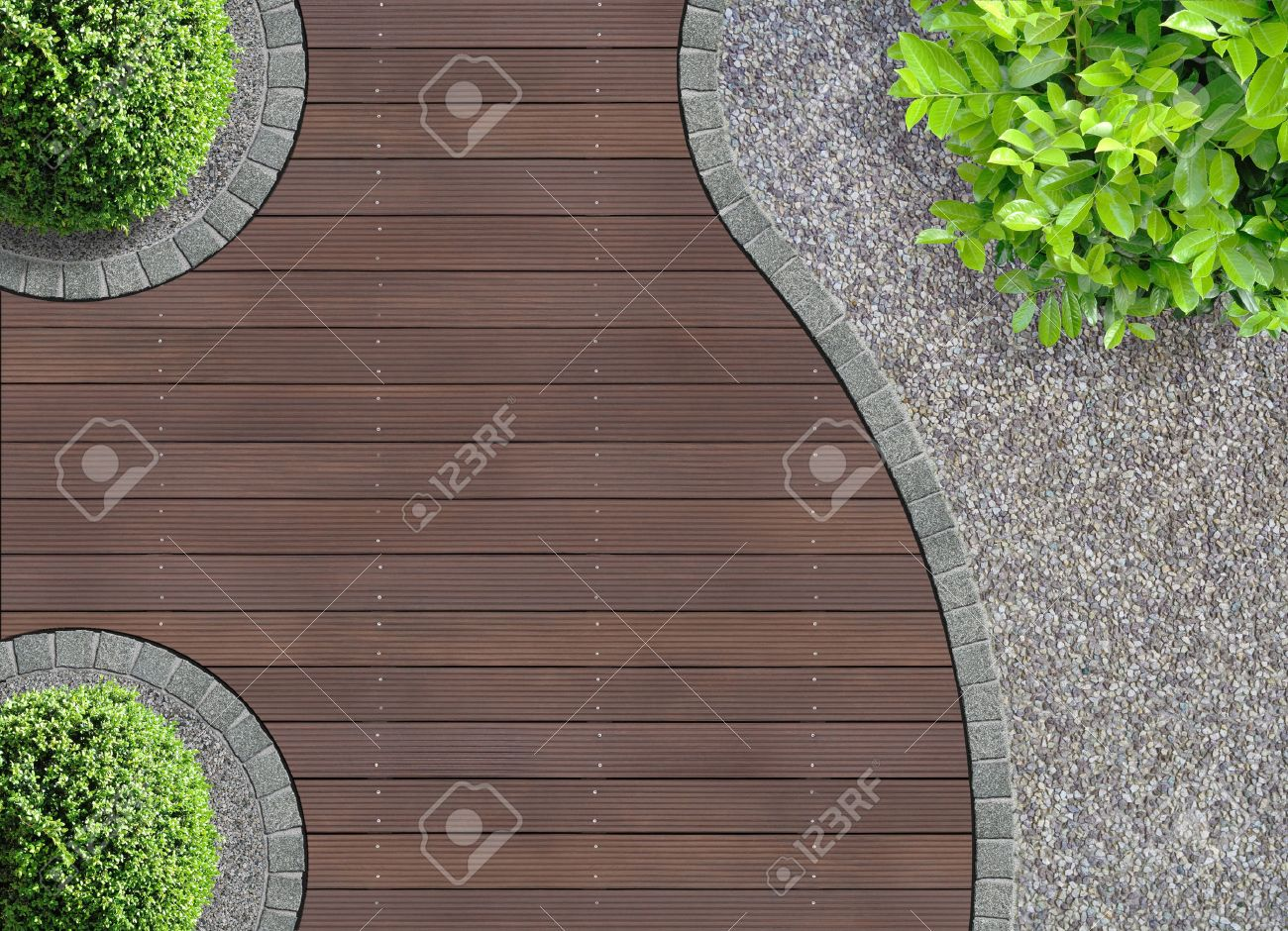 Aesthetic Garden Design Detail Seen From Above Stock Photo, Picture on