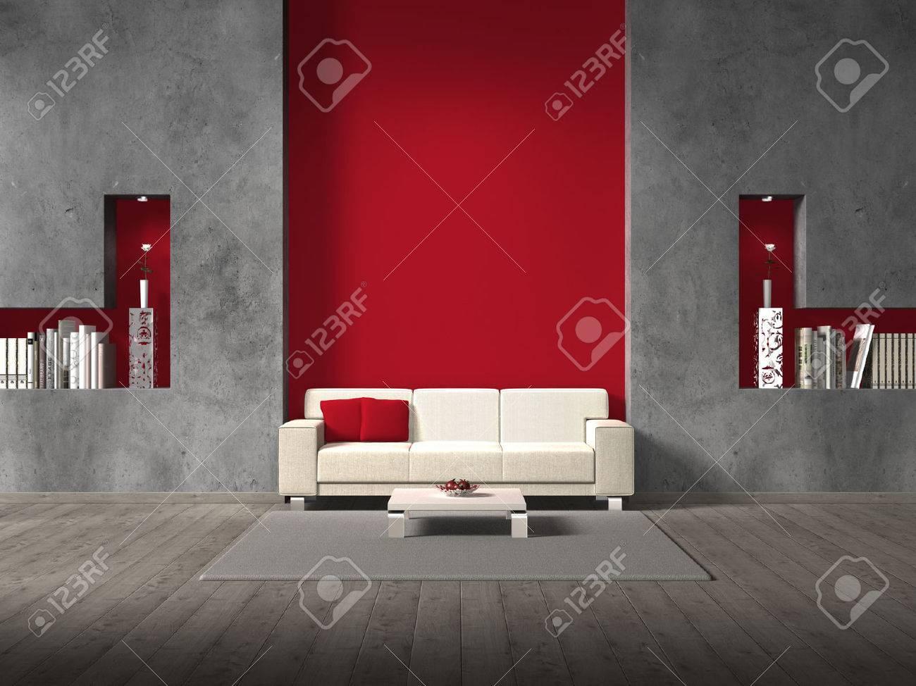 Fictieve moderne woonkamer met een bank en copyspace voor uw eigen ...