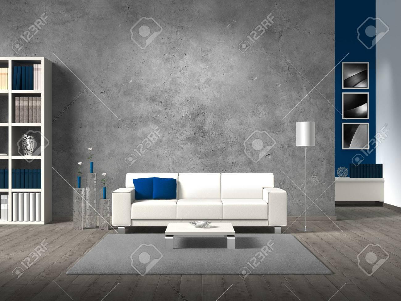 Moderne Wohnzimmer Mit Weißen Sofa Fiktiven Und Exemplar Für Ihren ...