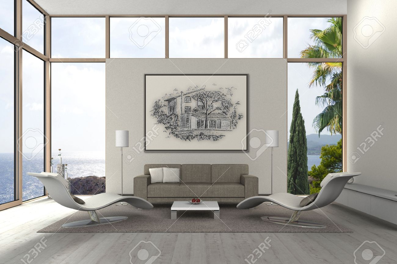 FICTITIOUS 3D Rendering Of A Modern Living Room With My Own Drawing Stock  Photo   36967636