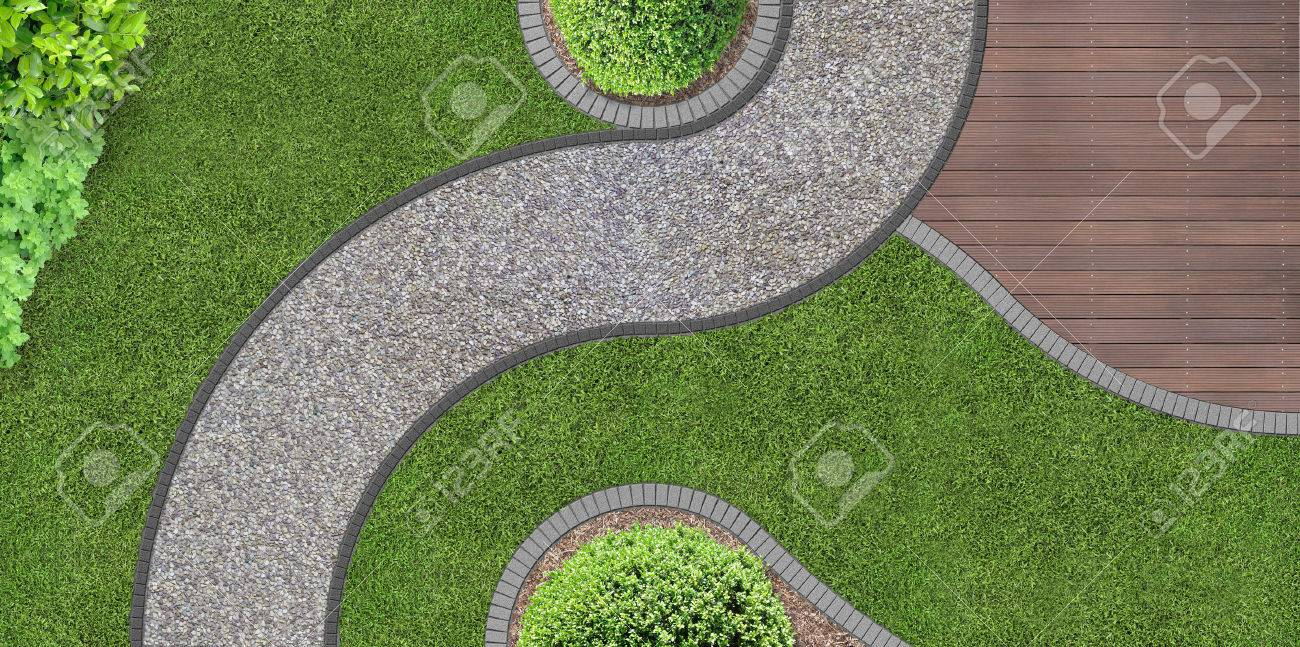 foot path through the garden in aerial view - 37004198