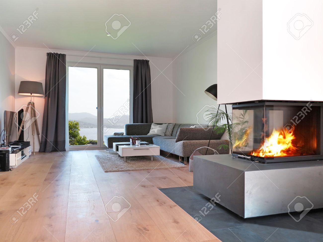 Salon moderne avec cheminée et une vue de la côte