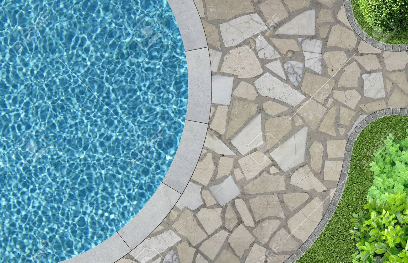 swimming pool and garden detail in top view - 57210371