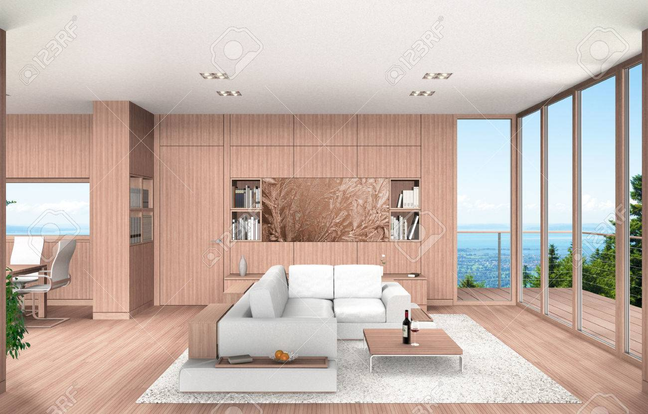 FICTITIOUS 3D Rendering Showing A Modern Living Room And Dining With Wood Paneling Overlooking