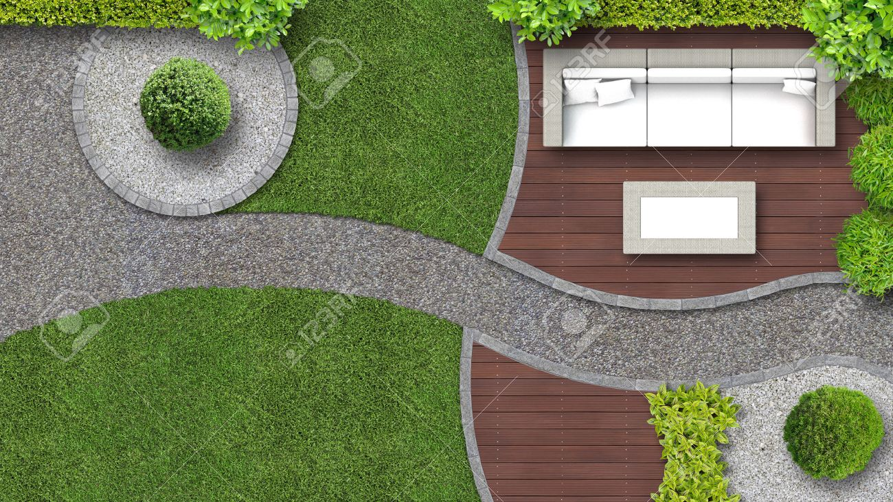 Garden Design In Top View Including Furniture Stock Photo