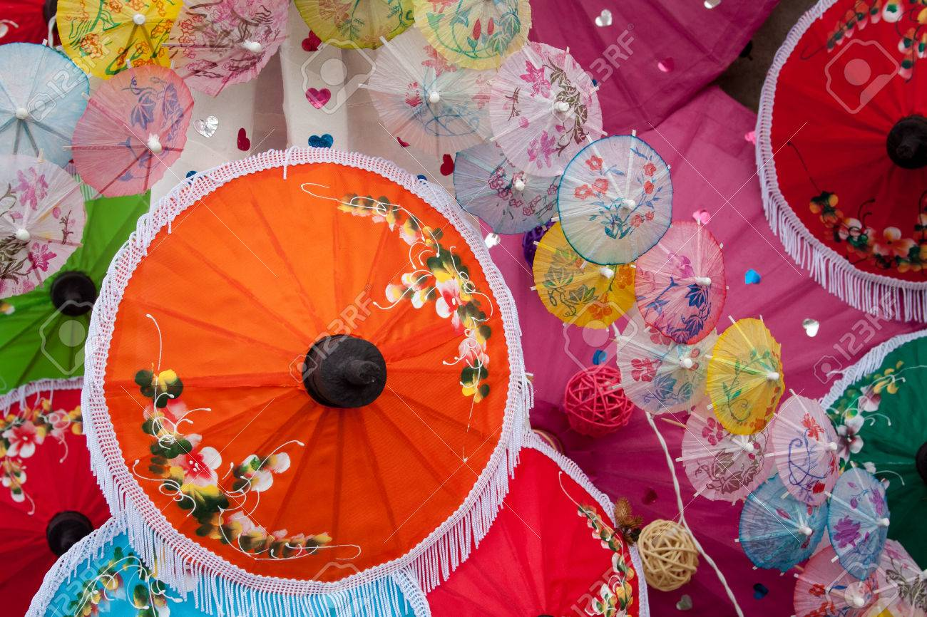 Umbrella Made Of Paper Cloth Arts And Crafts Of The Village Stock Photo Picture And Royalty Free Image Image 25175355