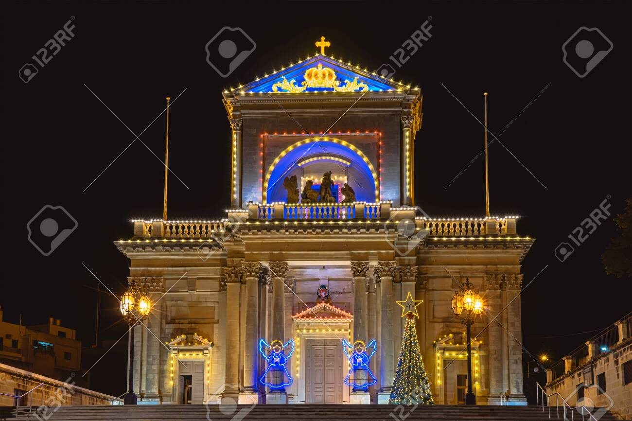Night View Of Kalkara St Joseph Church In Kalkara Malta With