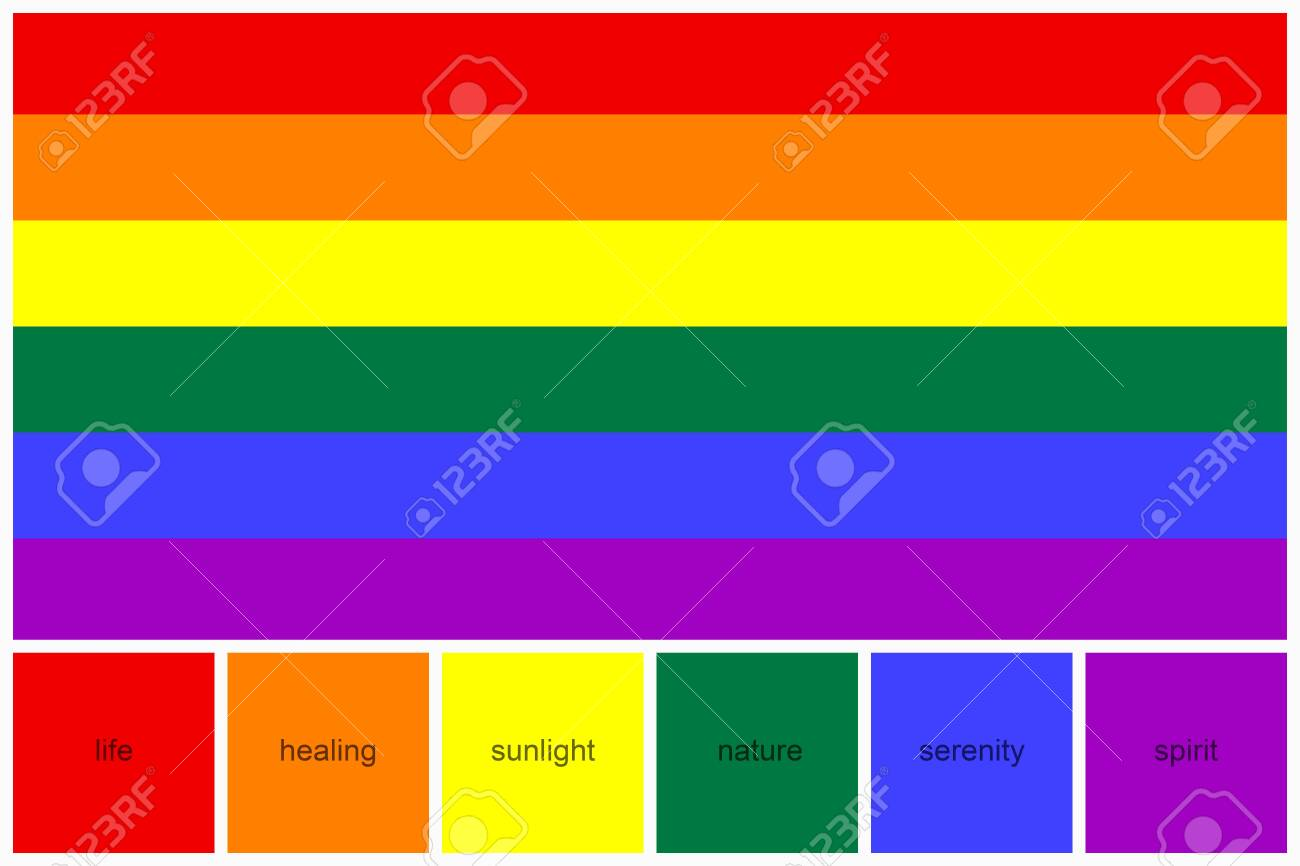 Collage Color Palette With Meaning To Each Of Colors Of Rainbow Stock Photo Picture And Royalty Free Image Image 130585319