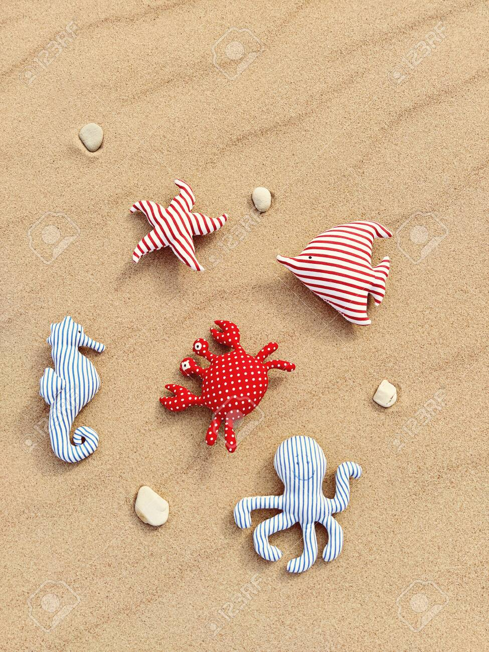 Handmade Fabric Toys On Sandy Background Baby Educational Toys Stock Photo Picture And Royalty Free Image Image 150032786