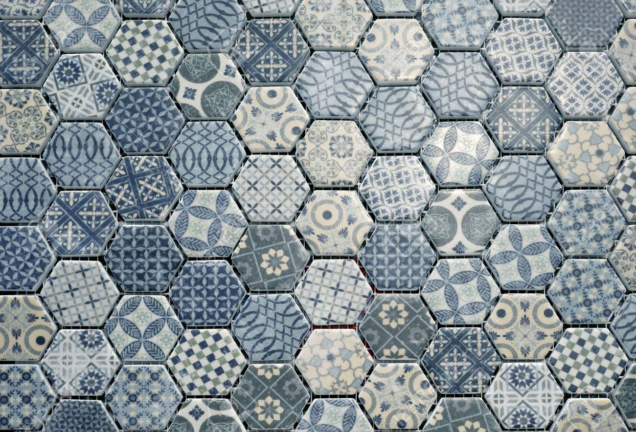 Ceramic tiles texture and background hexagonal patterns stock photo