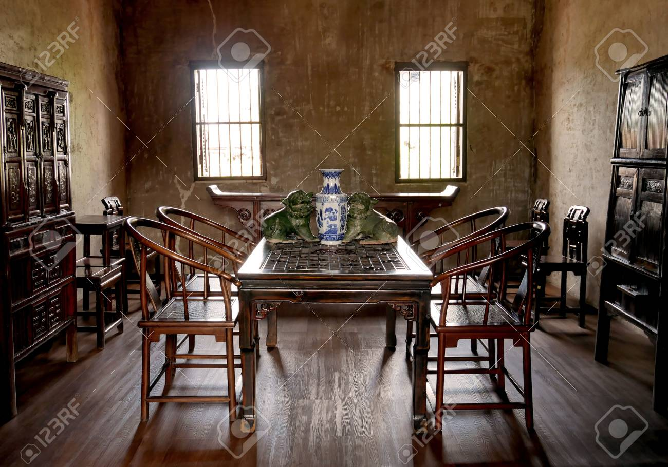 Old Chinese style living room, a traditional chinese style house.