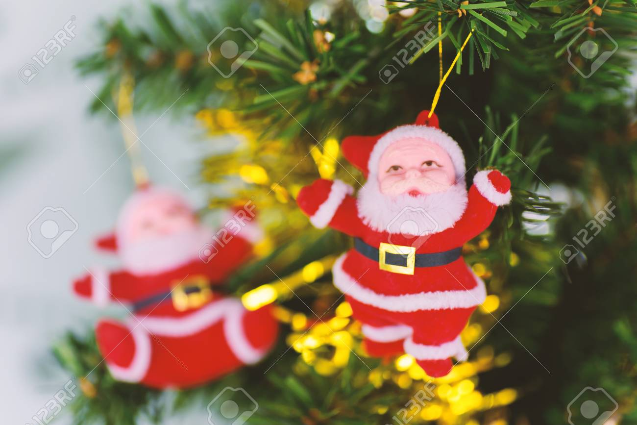 Christmas Decoration Santa Claus Doll Hanging On Pine Tree Branch