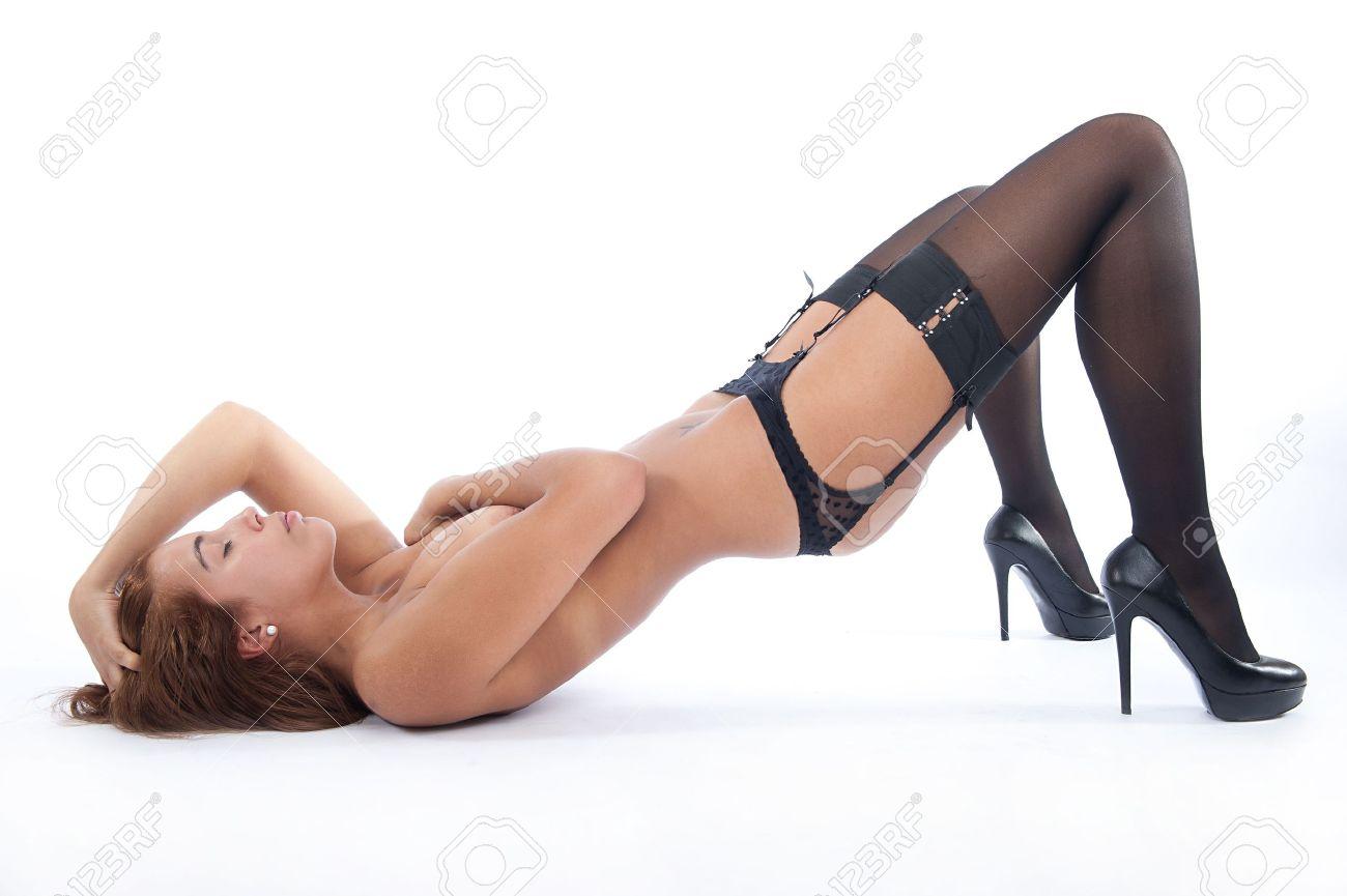 sexy strumpfe, high heels nackte frau