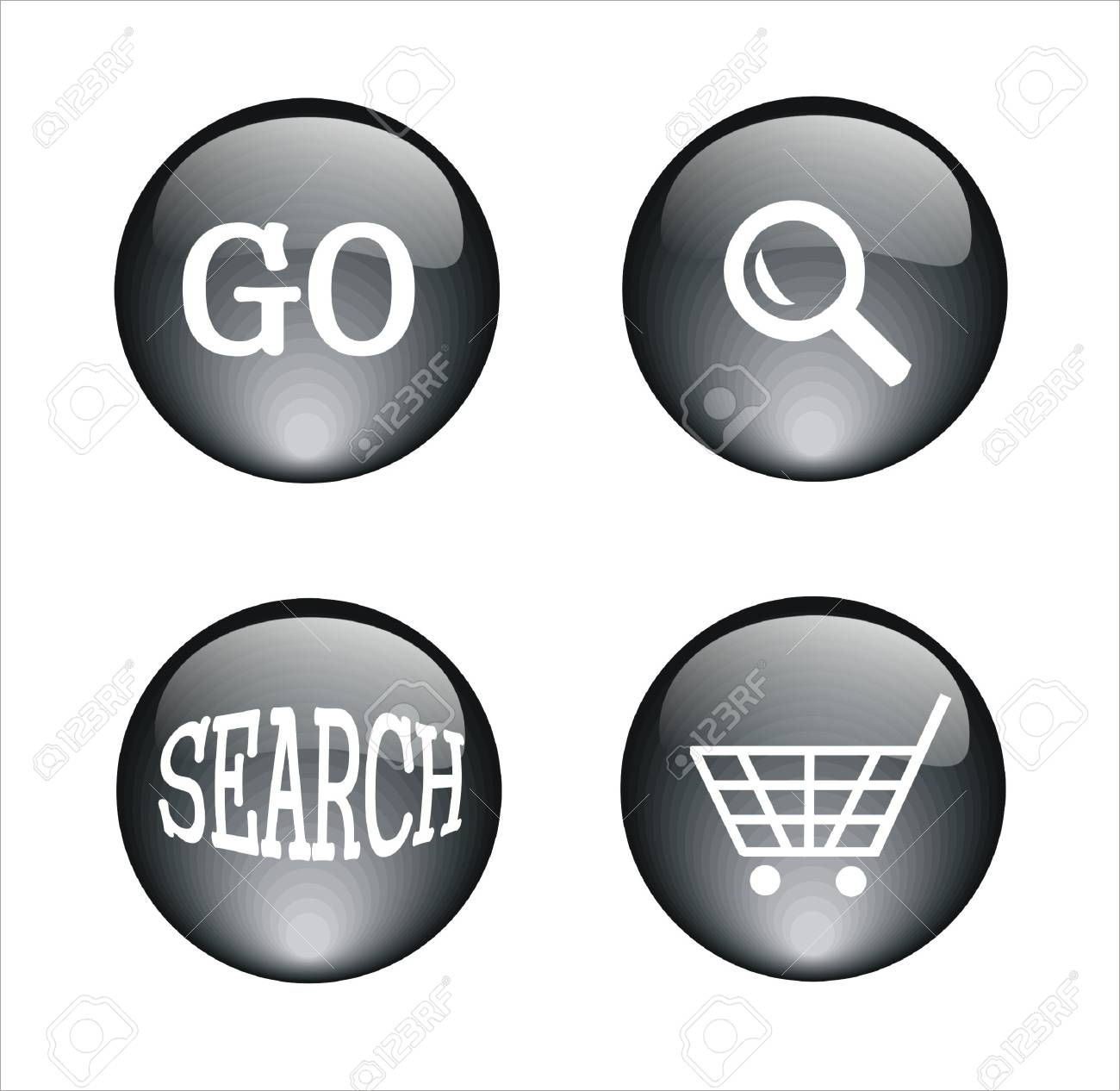 several crystal buttons with differents icons Stock Vector - 9502622